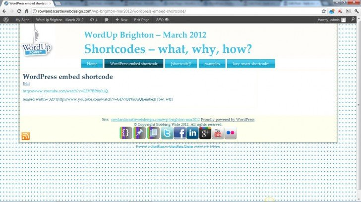 embed on a page not working (June 2012)