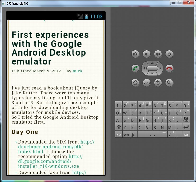First experiences with the Google Android Desktop emulator