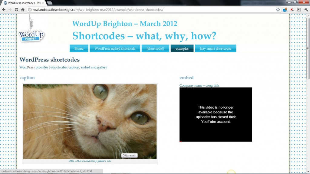 H2GD Part 9: WordPress embed shortcode